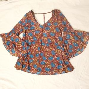 Mittoshop Sheer Floral Print Top NWT